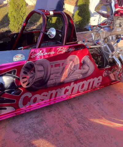 Adam Bitzanis dragster in airbrushed Cosichrome