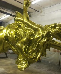 Lady Gaga Gold Statue on the rotisserie