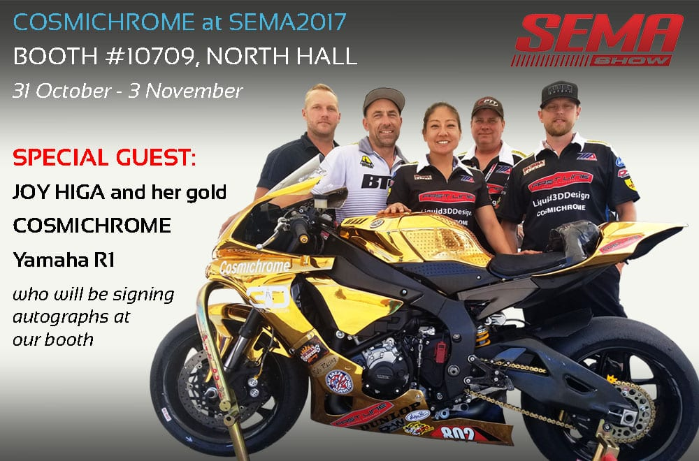 Joy Higa and her team with her gold Cosmichrome Yamaha R1